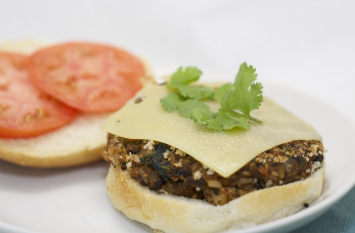 Sweet Potato & Black Bean Burger with a Kick!