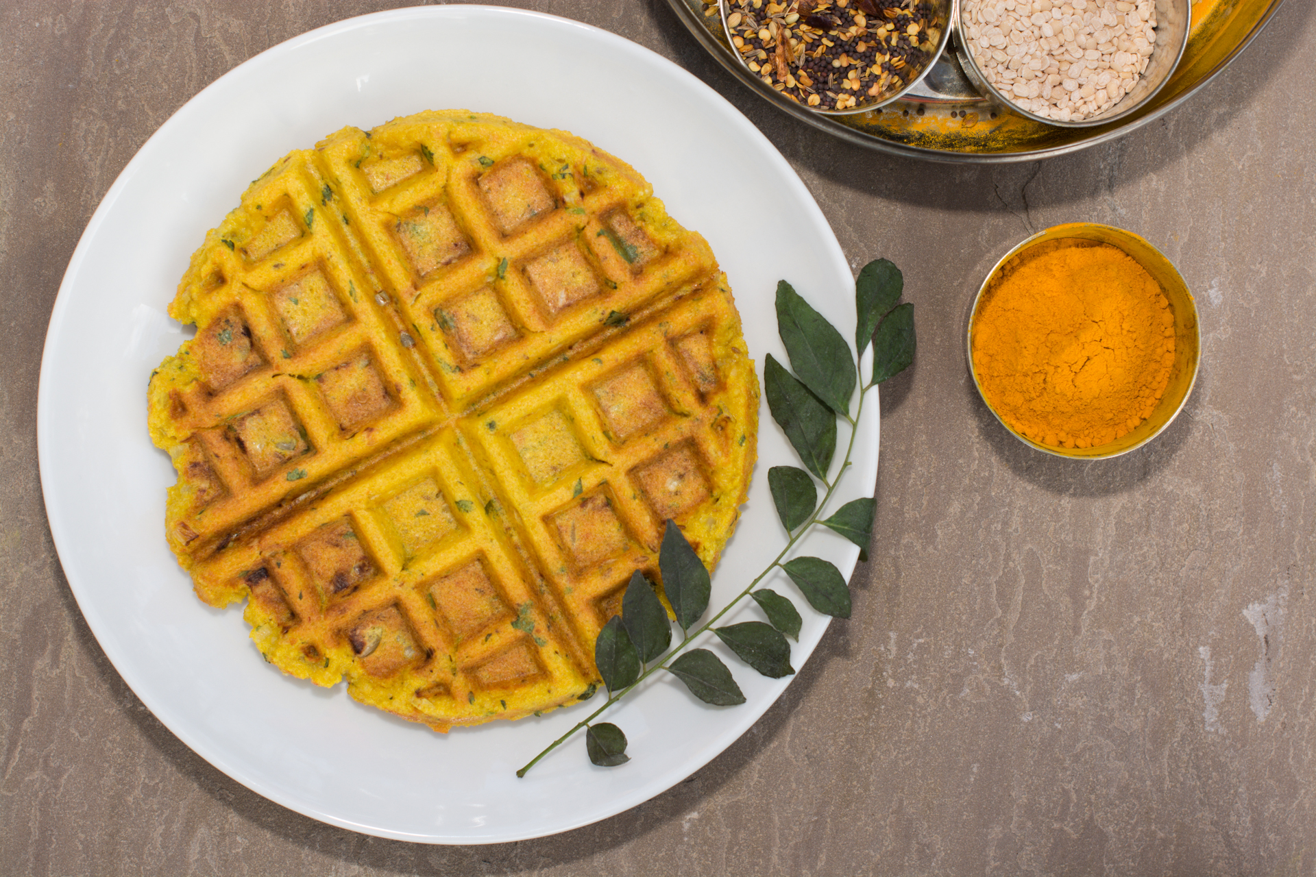 Savory Indian-spiced Lentil & Rice Waffle