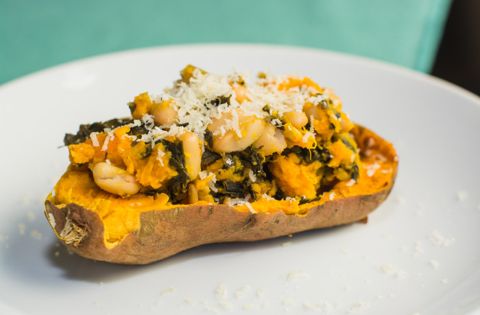 Italian Kale and White Bean Stuffed Sweet Potatoe